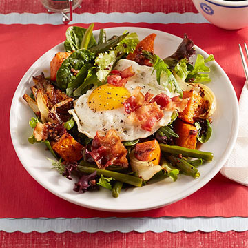 Fried Egg Salad with Bacon and Roasted Vegetables