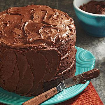 Three-Tiered Fudgy Chocolate Cake