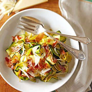 Squash Ribbons with Parmesan and Crisp Prosciutto