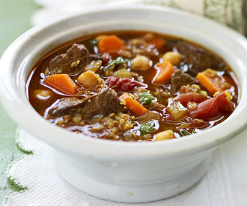 Beef and Bulgur Soup with Chickpeas