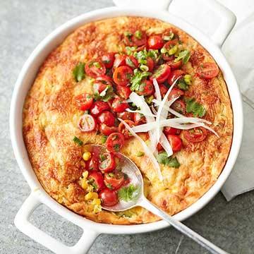 Corn and Zucchini Pan Souffle