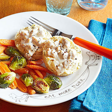 Sage Biscuits and Sausage Gravy with Roasted Vegetables
