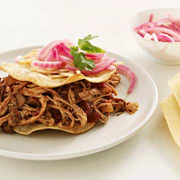 Chicken Tostadas with Pickled Red Onion