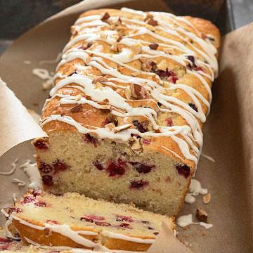 Almond-Cranberry Bread with White Chocolate Glaze