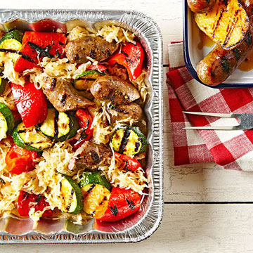 Grilled Veggies and Brats in Kraut