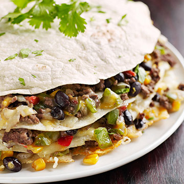 Tortilla Stack with Ground Beef
