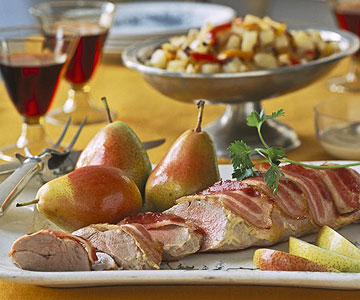 Bacon-Wrapped Pork With Peppers and Potatoes