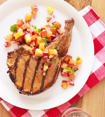 Grilled Pork Chops & Peach-Plum Salsa