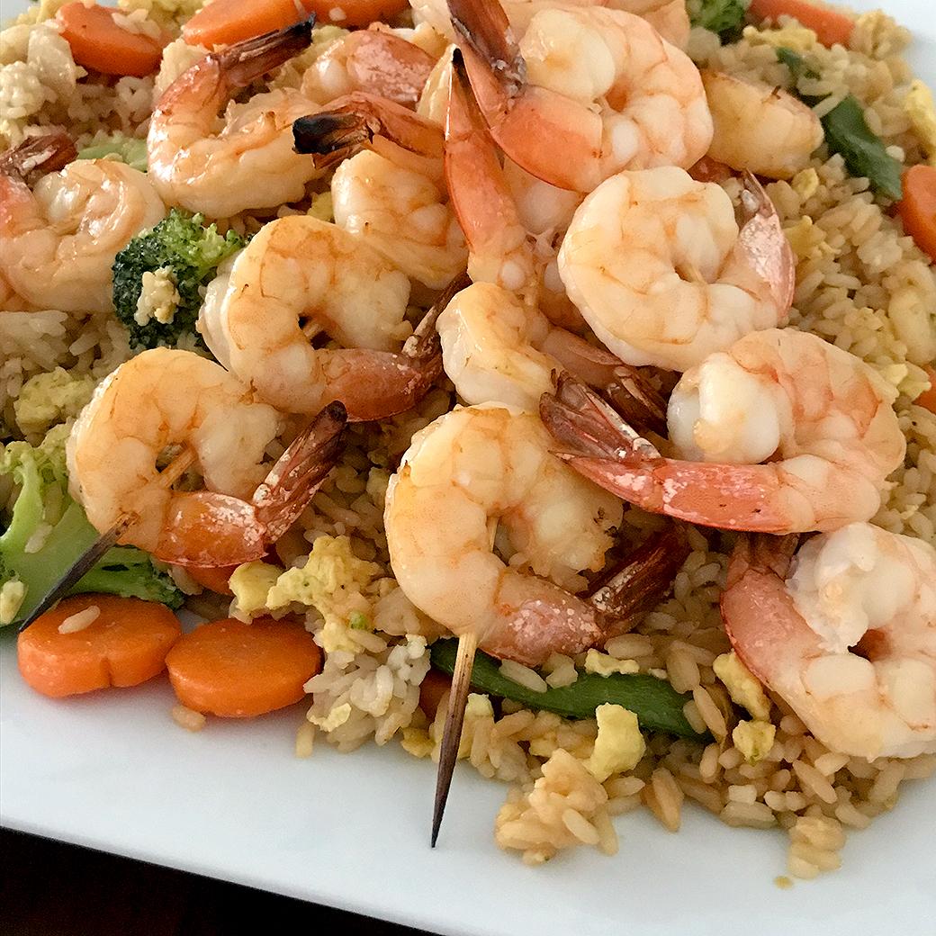 Shrimp Over Fried Rice