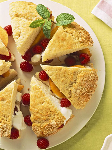 Peach Melba-Sour Cream Shortcake Wedges