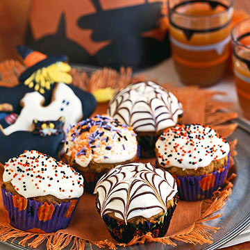 Jack-o'-Muffins with Cobweb Icing Cupcakes