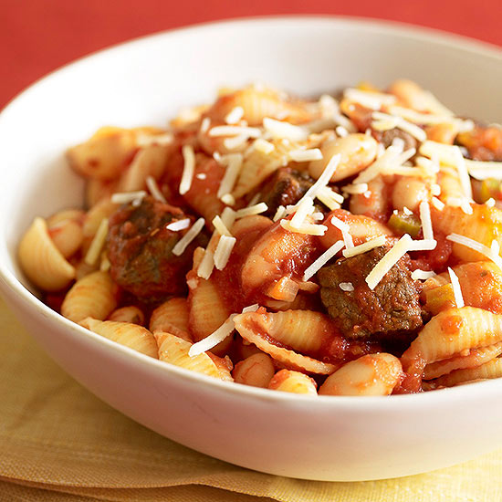 Shells with White Beans and Beef