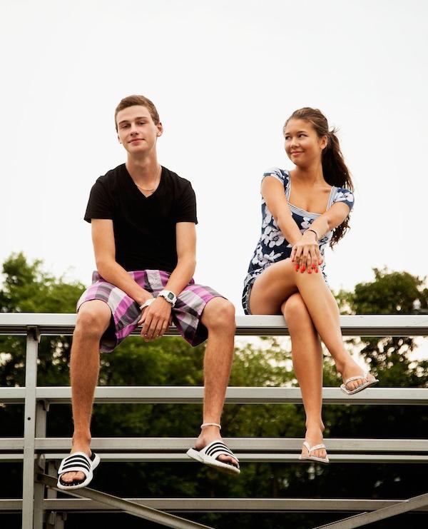 teenagers flirting