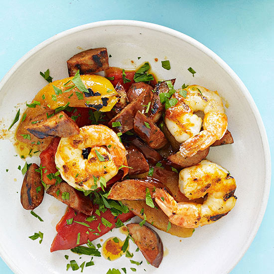 Grilled Peppers, Shrimp and Chorizo