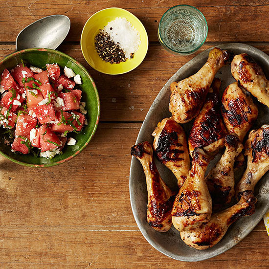 Honey Lime Drumsticks with Watermelon Salad