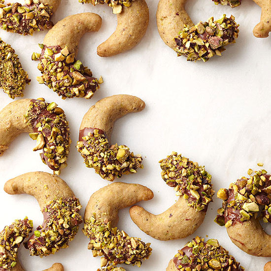 Chocolate-Dipped Pistachio Crescents