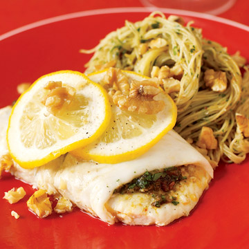 Flounder with Walnut Pesto