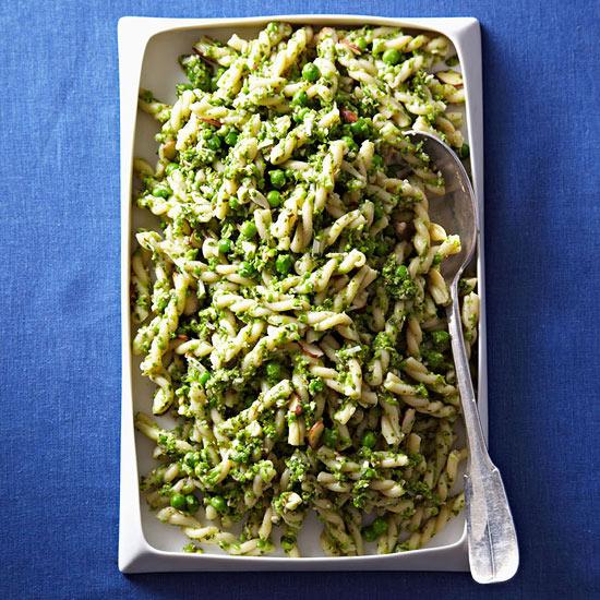 Gemelli with Mint-Pea Pesto