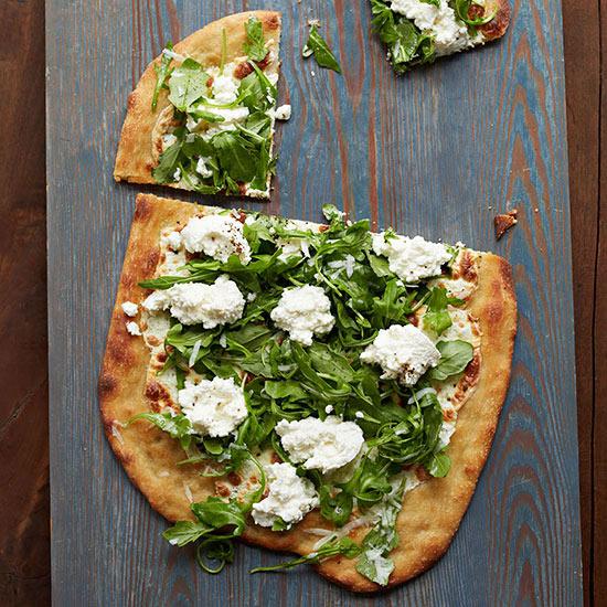 White Pizza with Arugula, Lemon, Parmesan and Ricotta