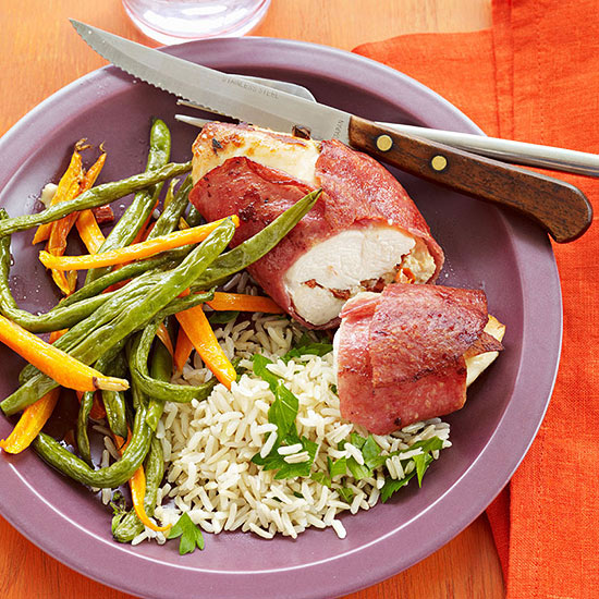 Stuffed Chicken Breasts with Roasted Vegetables and Herbed Brown Rice