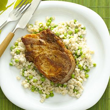 Pork with Creamy Barley and Peas