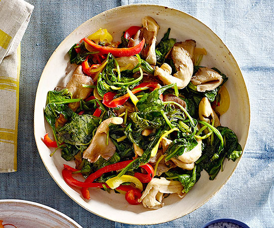 Sauteed Baby Spinach and Oyster Mushrooms