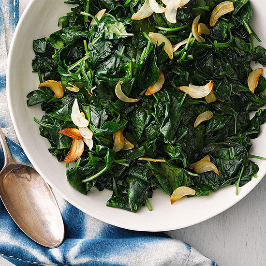 Wilted Spinach with Crispy Garlic Chips