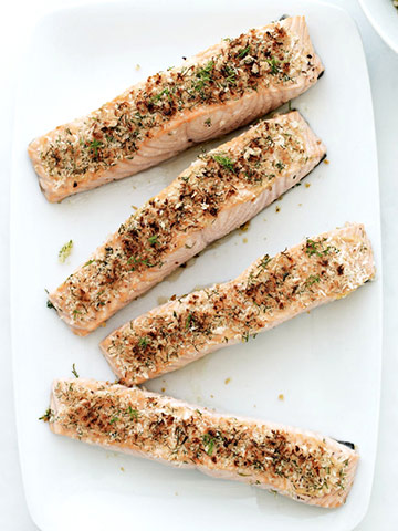 Herb-Crusted Salmon and Israeli Couscous