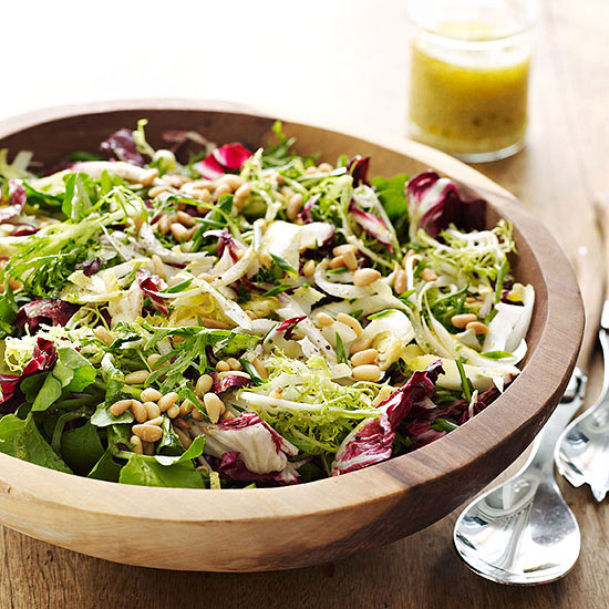 LEAFY GREENS AND PINE NUT SALAD