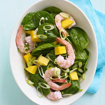 Caribbean Shrimp, Mango and Spinach Salad