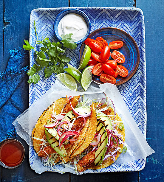 Baja Fish Tacos with Grilled Avocado