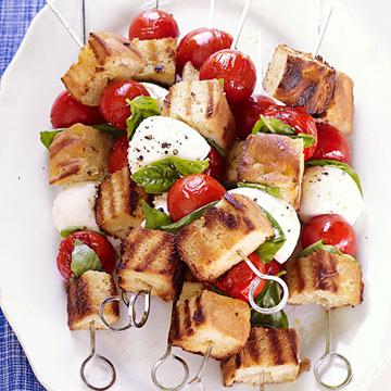 Panzanella Skewers with Mozzarella, Tomato and Focaccia Bread
