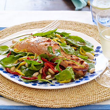 Grilled Salmon with White Bean, Sun-Dried Tomato and Spinach Salad