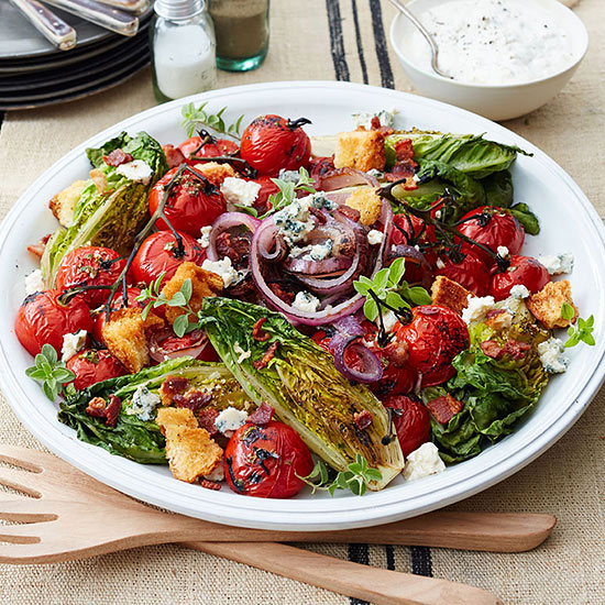 Grilled Little Gem Salad with Cherry Tomatoes, Smoked Bacon and Buttermilk-Blue Cheese Dressing