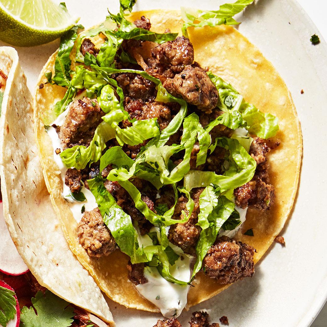Lamb Tacos with Cilantro-Mint Crema