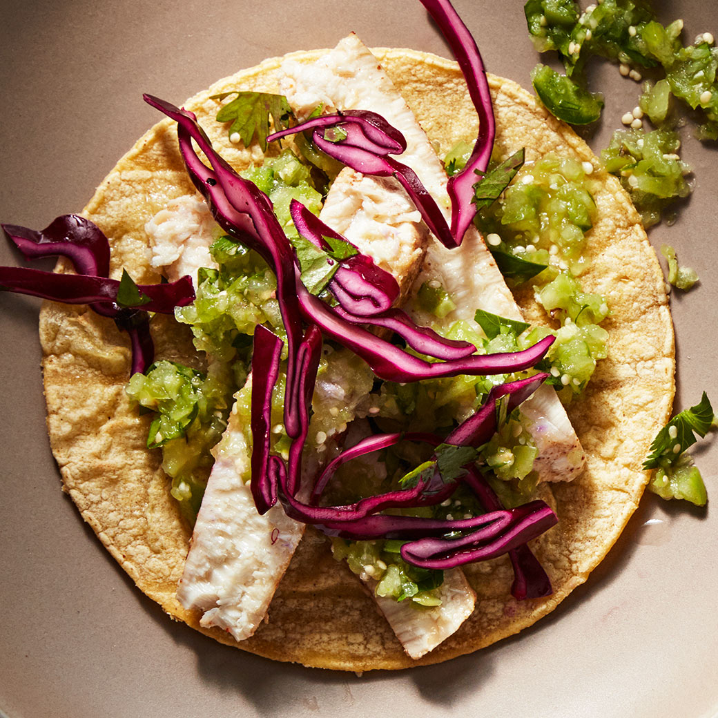Seared Swordfish Tacos with Cabbage Slaw