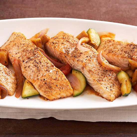 Peppered Salmon with Quick Ratatouille