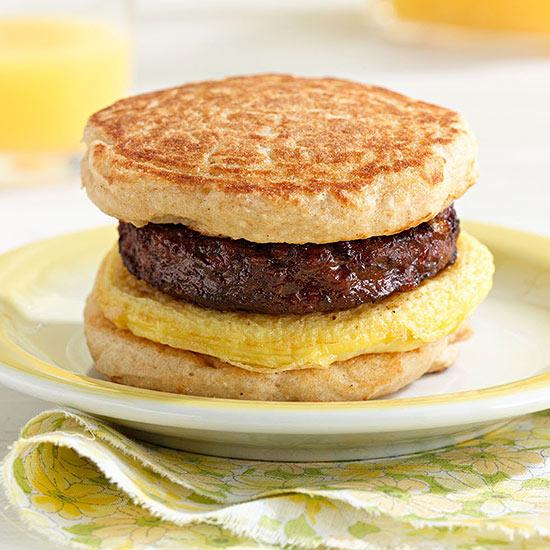 Silver Dollar Pancake Breakfast Sandwiches