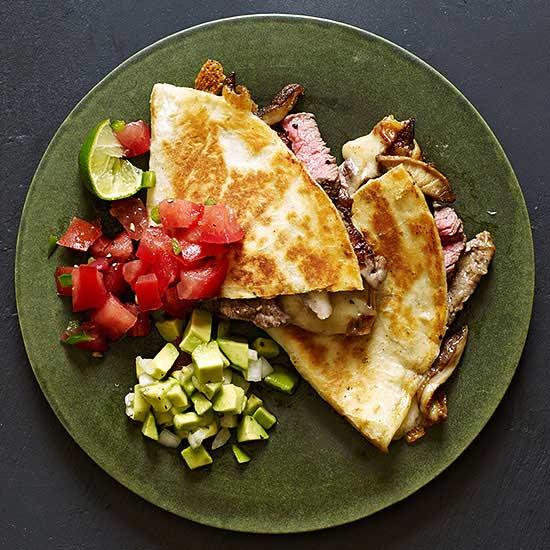 Sliced Beef Tenderloin and Shiitake Quesadillas with Two Salsas
