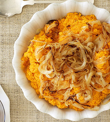 Mashed Sweet Potatoes with Caramelized Onions