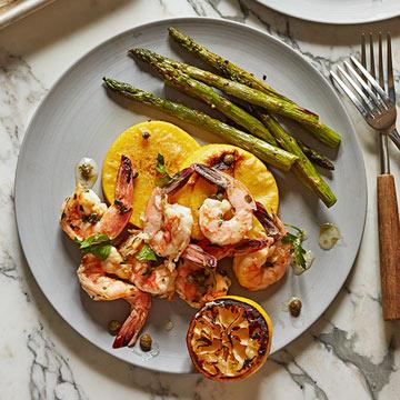 Shrimp with Asparagus and Polenta