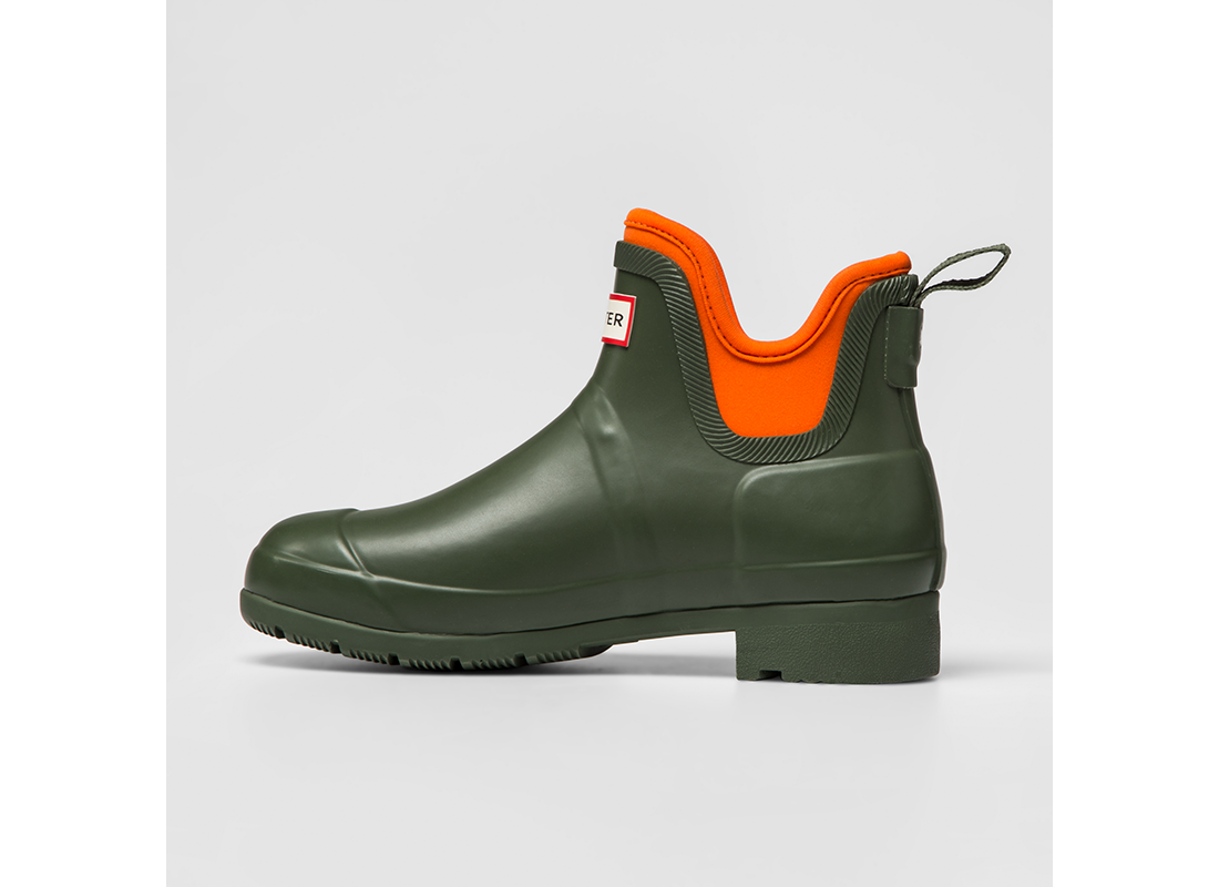 Target x Hunter green and orange rain boot