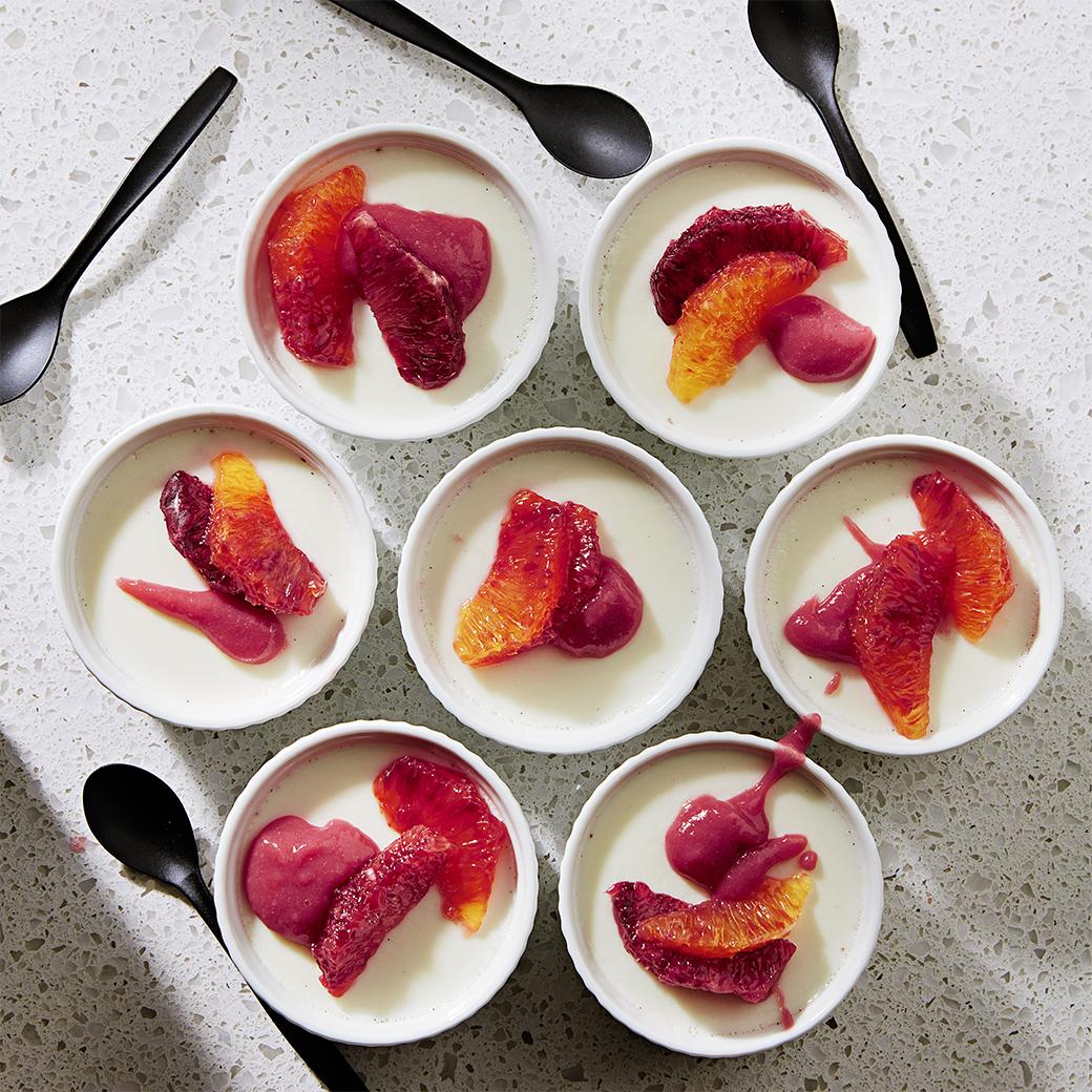 Vanilla Panna Cotta with Guava-Raspberry Puree & Blood Orange Segments