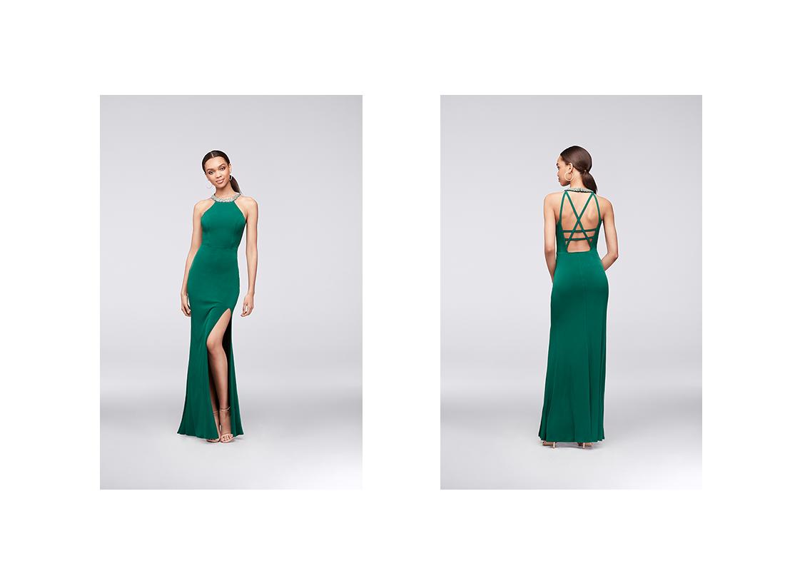 David's Bridal emerald prom dress