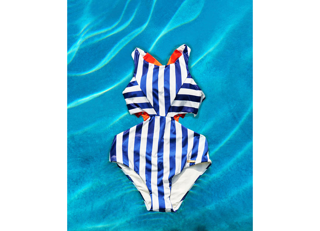 blue and white stripe swimsuit