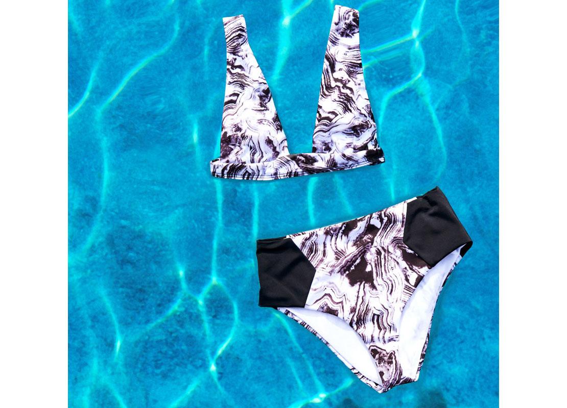 black and blue bikini
