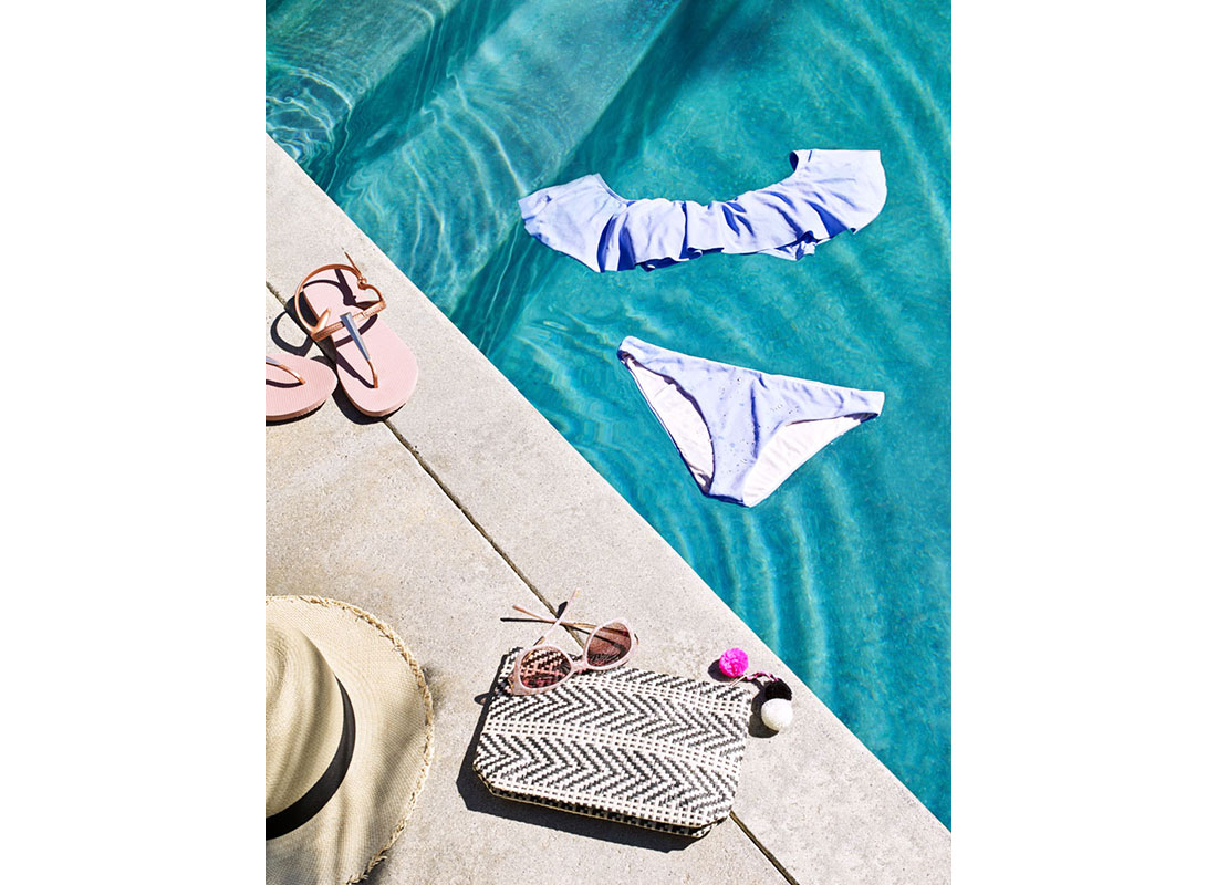 blue ruffle bikini