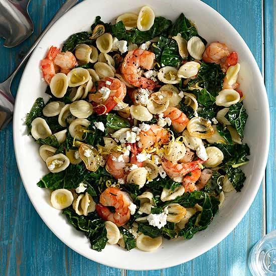 Lemony Orecchiette with Shrimp and Kale