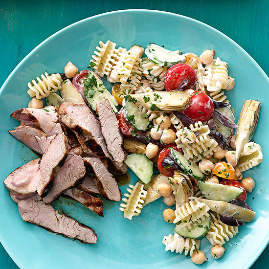 Grilled Pork with Pasta Salad