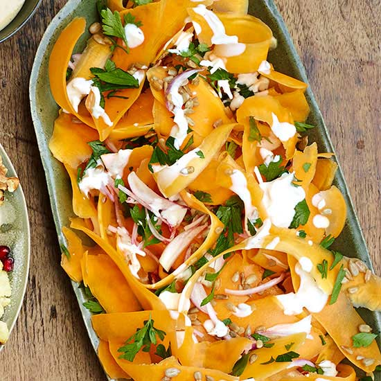 Shaved Butternut Squash with Asiago Dressing